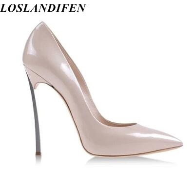 91ebbb52f96 US $51.8 30% OFF|LOSLANDIFEN Factory 12cm blade heel women pumps High  quality sexy pointed toe wedding party shoes high heels big size 43 -in  Women's ...