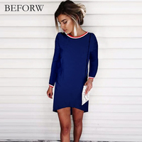 BEFORW Autumn Winter Fahion Women Dress Long Sleeves Splice Sexy Dresses Black White Gray Casual Womens