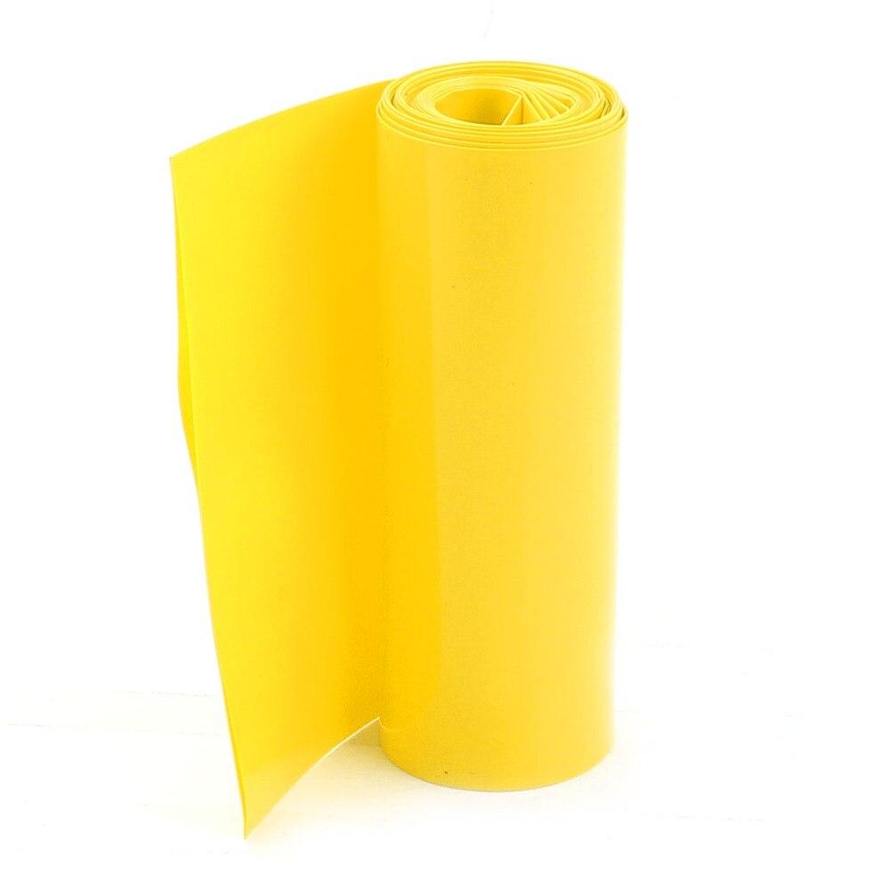 2 метров 85 мм Ширина ПВХ термоусадочные трубки желтый для 18650 батареи пакет