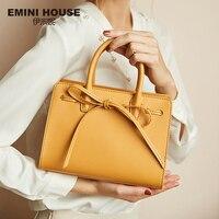 EMINI HOUSE Bow-Knot Handbag Luxury Handbags Women Bags Designer Split Leather Crossbody Bags For Women Messenger Bag Handbags