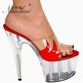 New 15cm Club Women Shoes Slippers Platform Heels Heels Women 6 Inch Splicing Transparent Shoes I Wear Women'S Shoes Nightclub