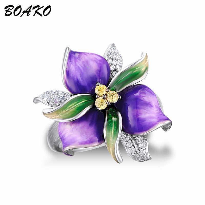 Boako 925 anel de prata esterlina esmalte roxo flor anel para as mulheres aaa zircão cristal anel delicado moda dedo jóias bague