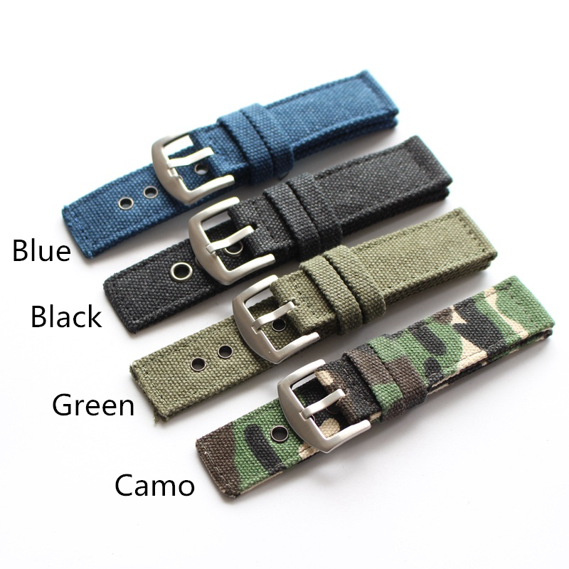 MERJUST 20MM 22MM 24MM Camo Blue Green Black Simplicity Pure Canvas Watchbands Strap For Military Watch Wristband Bracelet