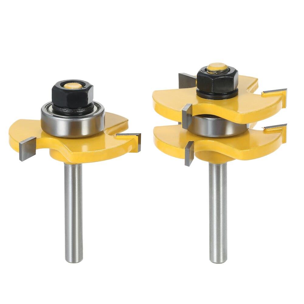 """2 Stücke 3/4 """"lager 1/4"""" Schaft Zunge Nut Router Bit Set 3 Zähne T-form Holz Fräsen Cutter Für Holzbearbeitung Werkzeuge + Lagerung Box"""