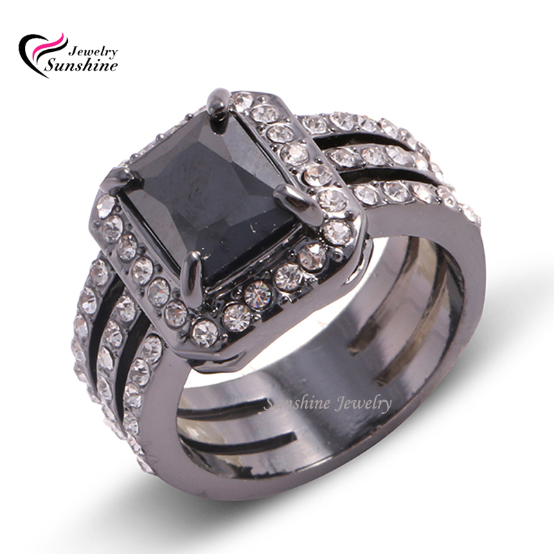 Big Promotion! New Trendy Unique Black Gold Filled Wedding Rings Fine Jewelry Women's Party Ring