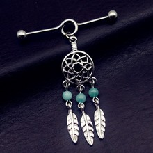 US $1.35 |1pcs Stainless Steel Dream Catcher High quality bead feather Industrial Barbell tragus Cartilage dangle Ear Piercing Jewelry-in Stud Earrings from Jewelry & Accessories on AliExpress - 11.11_Double 11_Singles' Day