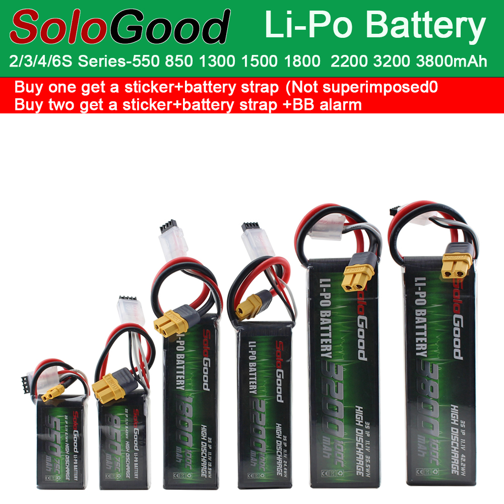 SoloGood <font><b>Lipo</b></font> Batteries Li-Po Battery 2S 3S 4S <font><b>6S</b></font> 550mAh 1150mAh <font><b>1500mAh</b></font> 3200mAh 75C 100C RC Fixed Wing Helicopter Racing Drone image