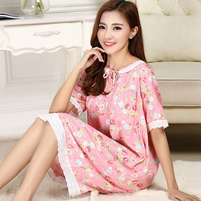 fb9acd3a0b Women Cotton Nightgown Floral Sleep Dress Short Sleeve Sleep Shirt One Size Night  Shirt Sexy Nightwear Casual Home Dress 80094