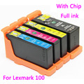4pcs compatible ink cartridge lexmark 100 / 105 /108 for  S301/302/305/S405/409/ S505/S605/S308/S408/S508/S608 printer
