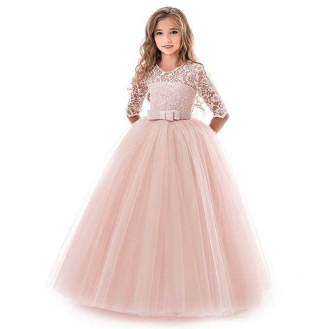 קיץ ילדה שמלת תחרה ארוך טול Teen הילדה המפלגה שמלה אלגנטי ילדי בגדי ילדים שמלות בנות נסיכת שמלת כלה
