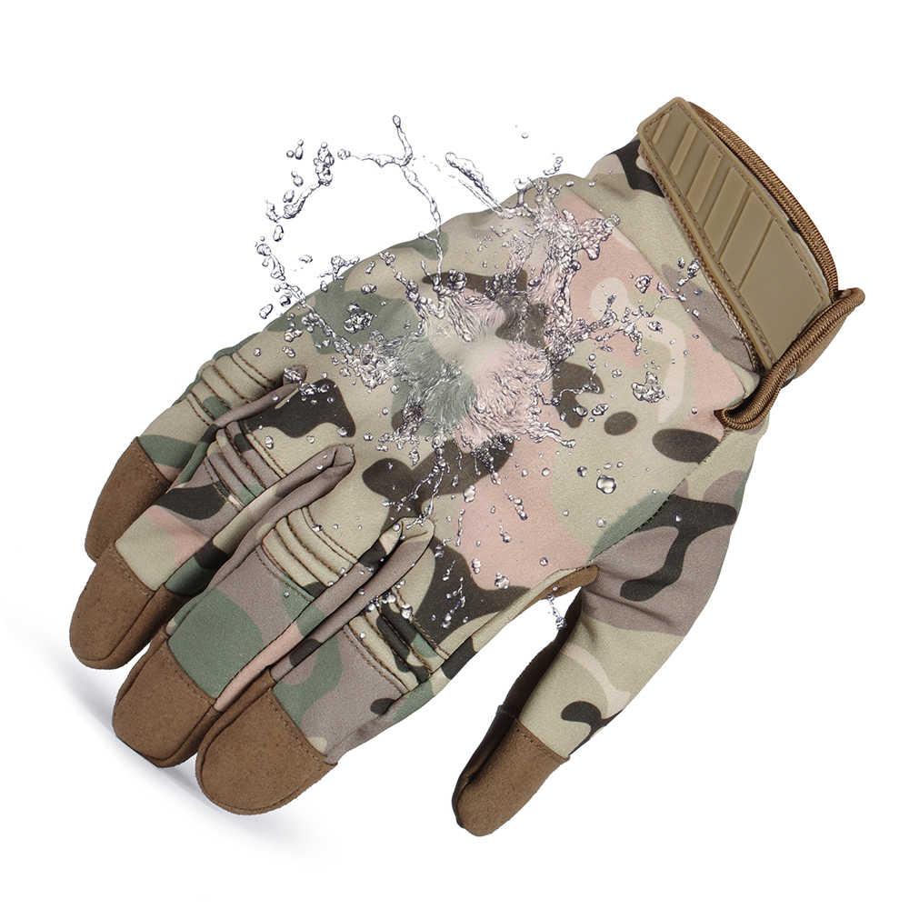 Сенсорный экран холодная погода водонепроницаемый ветрозащитный зимний Балаклава Флисовая для велоспорта и сноубординга тактические с твердыми костяшками полный палец перчатки
