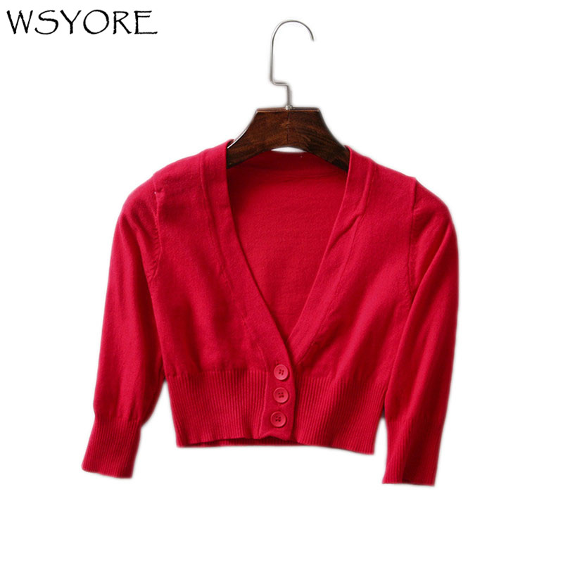 WSYORE Casual Women Cardigans Spring and Autumn Short Knitted Tops Slim Sweater Women V-neck Vintage Coat NS339