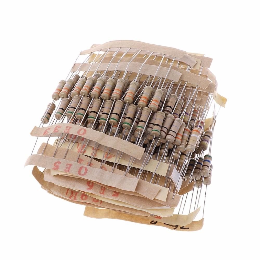 300Pcs Resistor Kits 1W 5% 0.1-750 Ohm Carbon Resistor 30 Values Resistance Set