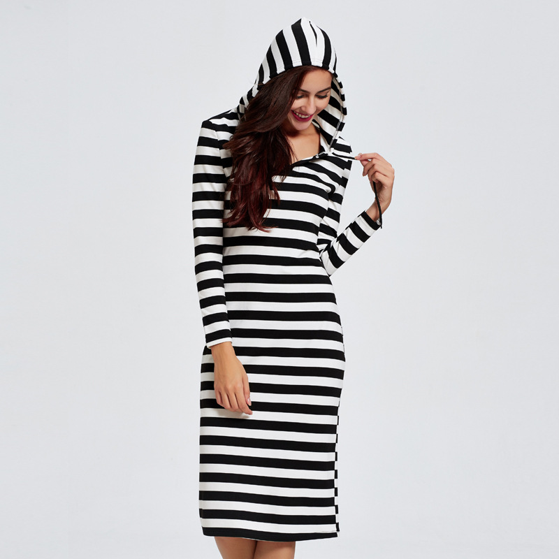 R186276 Middleeast Women Fashion European and American Style Fall and Winter Women 39 s Striped Hooded Dresses Mujer Vestidos in Islamic Clothing from Novelty amp Special Use