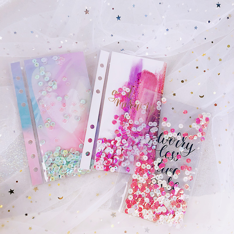 Lovedoki Sequins Series Creative Index Page Divider For Filofax Spiral Notebook A5A6A7 Planner Accessories Shake Card Stationery