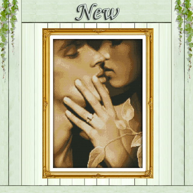Nostalgic lovers,11CT Pattern on the canvas DMC 14CT Cross Stitch kits,needlework full embroidery for Sets,Kiss love Home Decor
