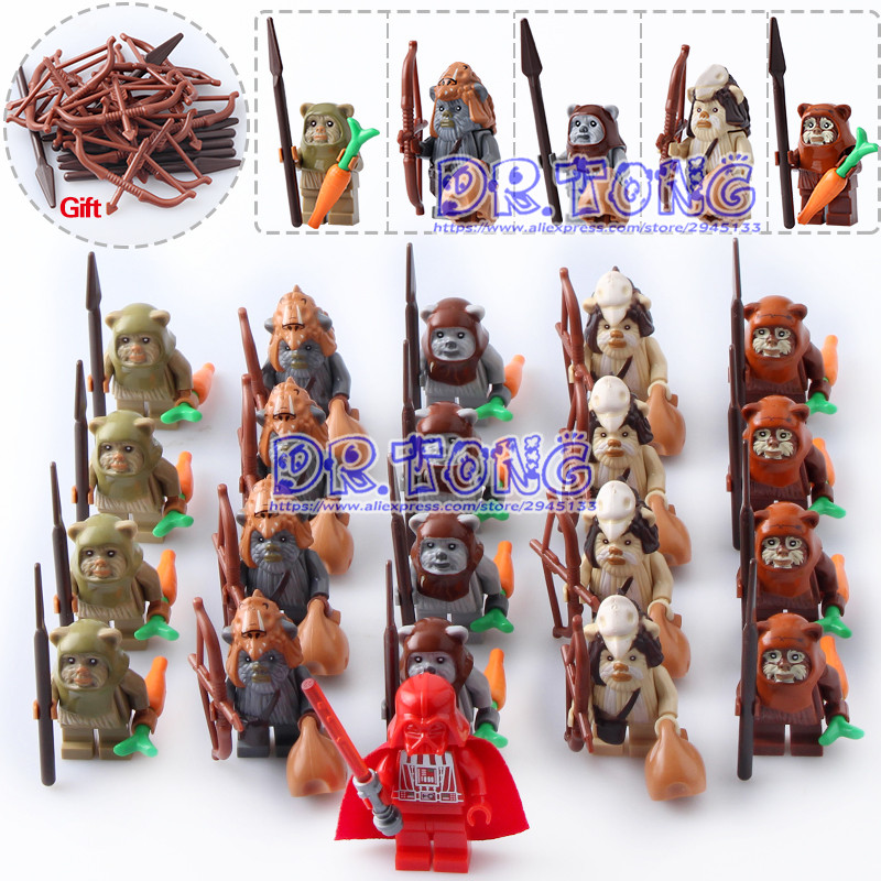 DR.TONG 21pcs/lot Star Wars Ewok Village Tan Tokkat Wicket Logray 10236 Battle of Endor 8038 Building Blocks Toys Children Gifts dhl fast shipping 1990pcs lepin 05047 ucs ewok village building blocks juguete para construir bricks toys compatible 10236
