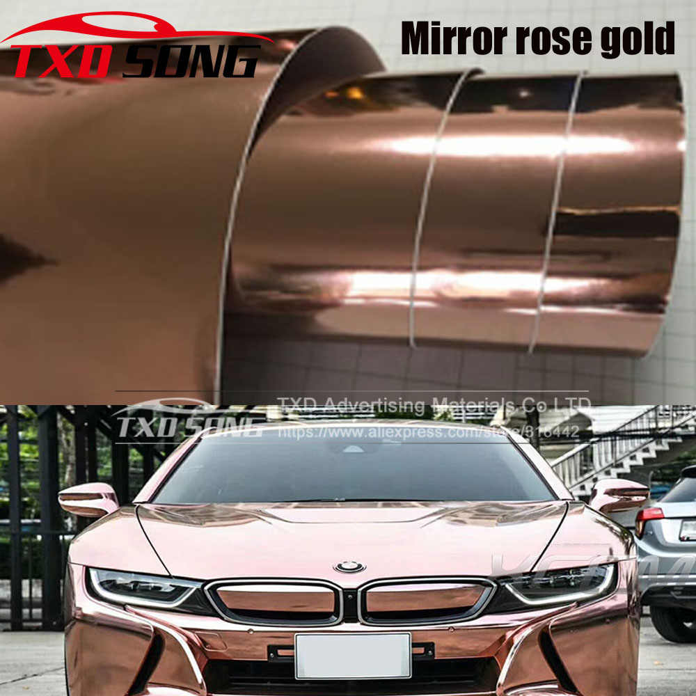 De nieuwste Hoge rekbaar spiegel rose gold Chrome Mirror flexibele Vinyl Wrap Sheet Roll Film Auto Sticker Decal Vel