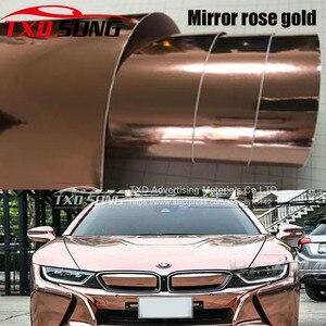 Image 1 - החדש גבוהה stretchable מירור רוז זהב כרום מראה גמיש ויניל לעטוף גיליון רול סרט רכב מדבקת מדבקות גיליון