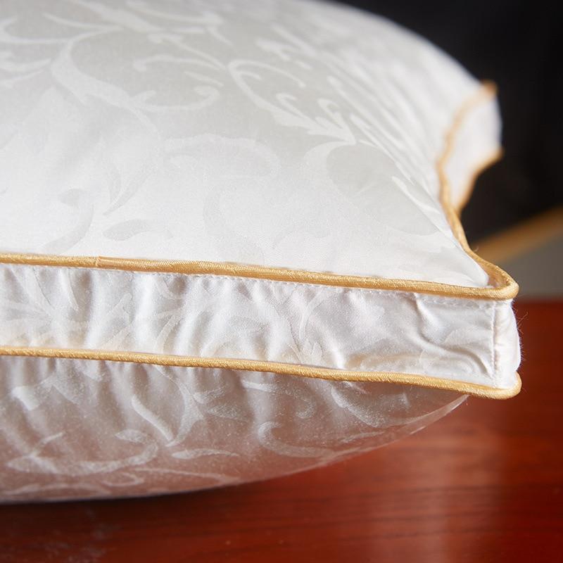 Kussens voor Slapen, Zijde Jacquard Wit Ganzendons Kussen Voor Side en Back Dwarsliggers Groothandel 48 cm x 74 cm - 5