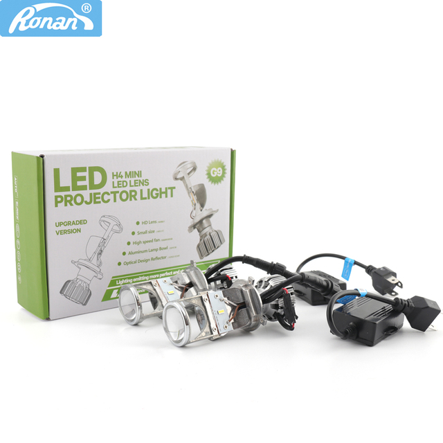 New Price RONAN New H4 Bi LED Mini Projector Lens with Hi/Low 5500K for Car Headlight Upgrading 55W*2 5500K