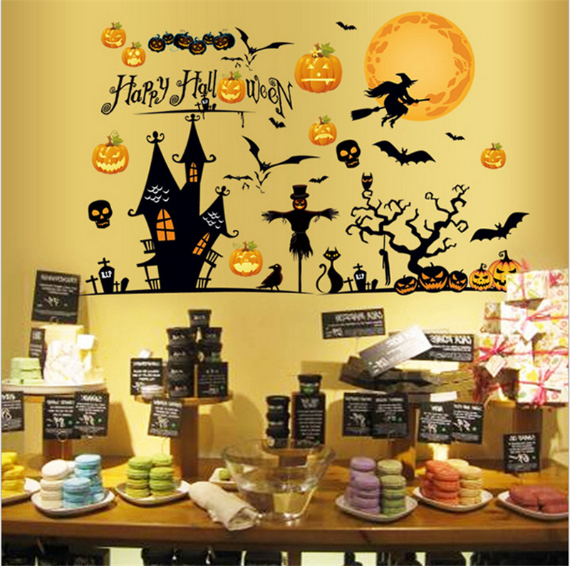 Halloween Wall Stickers Glass Window Store Shopping Malls Decoration Scene Props Home Office Party Festival Decoration