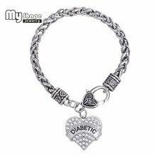 Diabetic awareness alert medical heart rhinestone charm bracelets bracelet white women