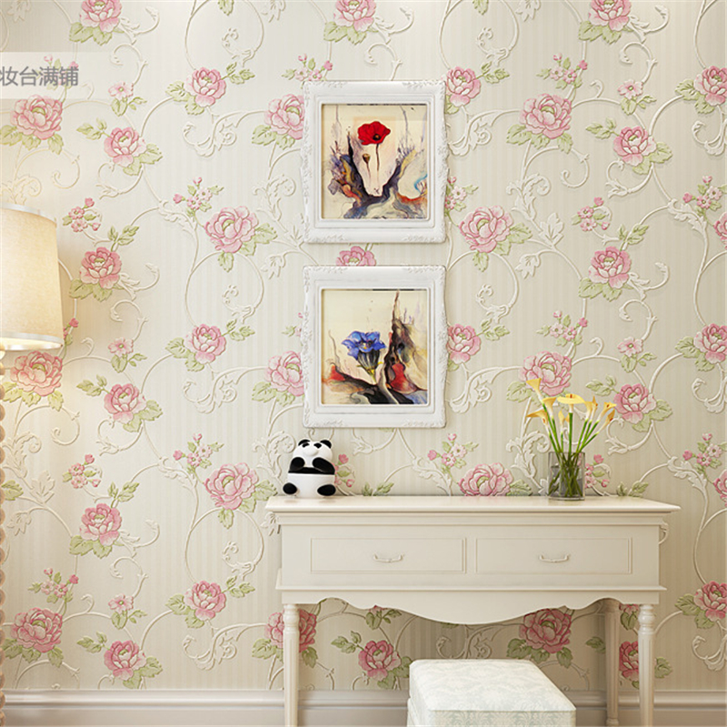 beibehang Warm pastoral flowers mural fashion designer TV background bedroom wall papers wall stickers home decor wallpaper roll fashion letters and zebra pattern removeable wall stickers for bedroom decor