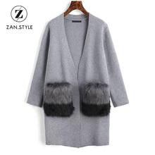 Zan. moda contraste Cuero no original bolsillos cardigan invierno suéter  mujeres de manga larga V Masajeadores de cuello largo C.. 8e787c804b4