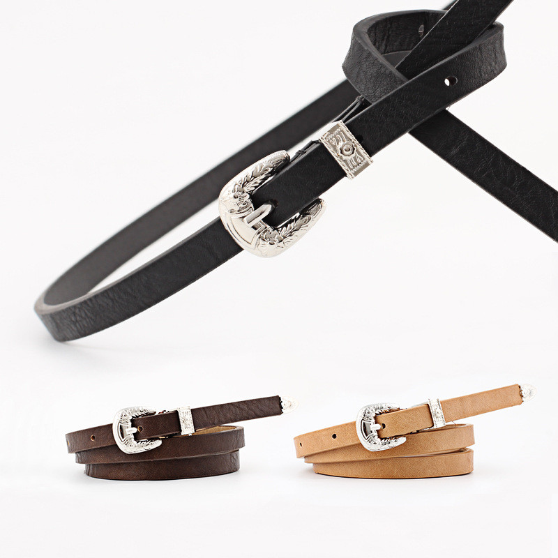 2019 Stylish Women Retro Caving Pin Buckle   Belts   High Quality Luxury Thin Leather Waist   Belt   Designer   Belts   for Jeans Dress Tops