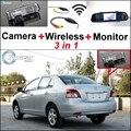 3en1 Cámara + Receptor Inalámbrico + Monitor Del Espejo Especial DIY Sistema de aparcamiento Para TOYOTA Vios Yaris Sedan Belta XP90 MK2 2007 ~ 2013