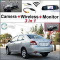 3in1 Special Camera + Wireless Receiver + Mirror Monitor DIY Parking System For TOYOTA Belta Vios Yaris Sedan XP90 MK2 2007~2013