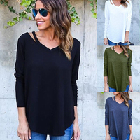 Plus Size S XL Fashion Casual V Neck Loose Sexy Long Sleeve Bottoming Pure Color Pullover