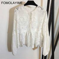 FOMOLAYIME Новая осень рубашки 2018 Для женщин водорастворимым цветок вышивка блузка рубашка