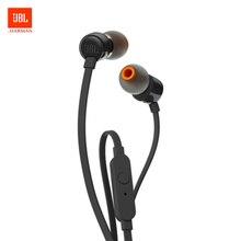 JBL T110 наушники плотно прилегающие к уху, динамический спортивные музыкой чистый HIFI Басс стерео звуковая гарнитура 1-кнопочный пульт С микрофоном для смартфонов