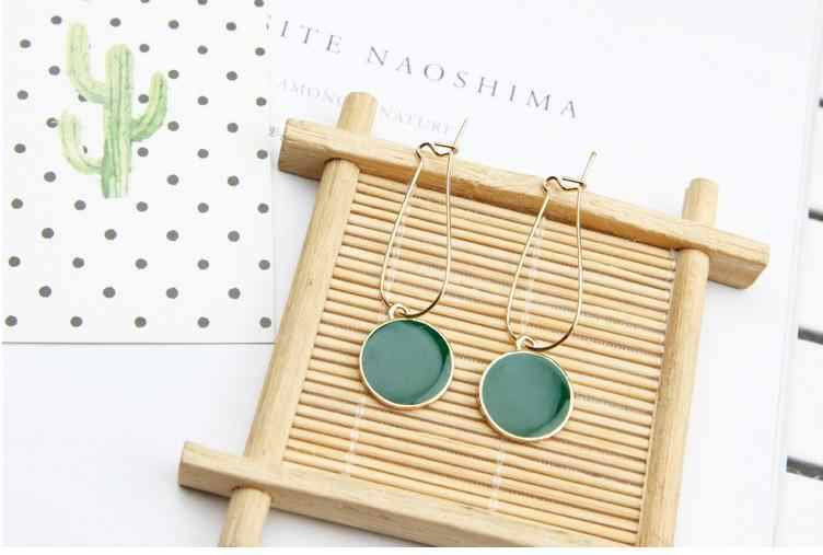 Simple Green Circle Small Fresh Girl Heart  Earrings Female Personality Wild Earrings Retro Earrings