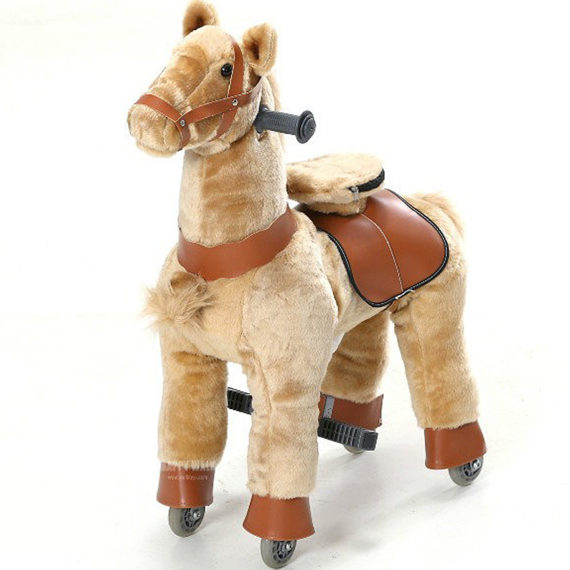 Brown Plush Mechanical Walking Horse Toys M Size Bounce Up and Down Sliding Horse Christmas Birthday