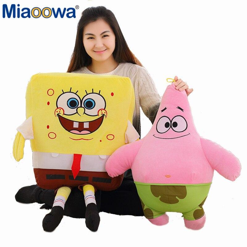 1 stück 60 cm Riesen Cartoon Spongebob Und Patrick Star Plüsch Geschenk Super Weiche Kissen Kinder Spielzeug Kawaii Baby Puppen für Kinder