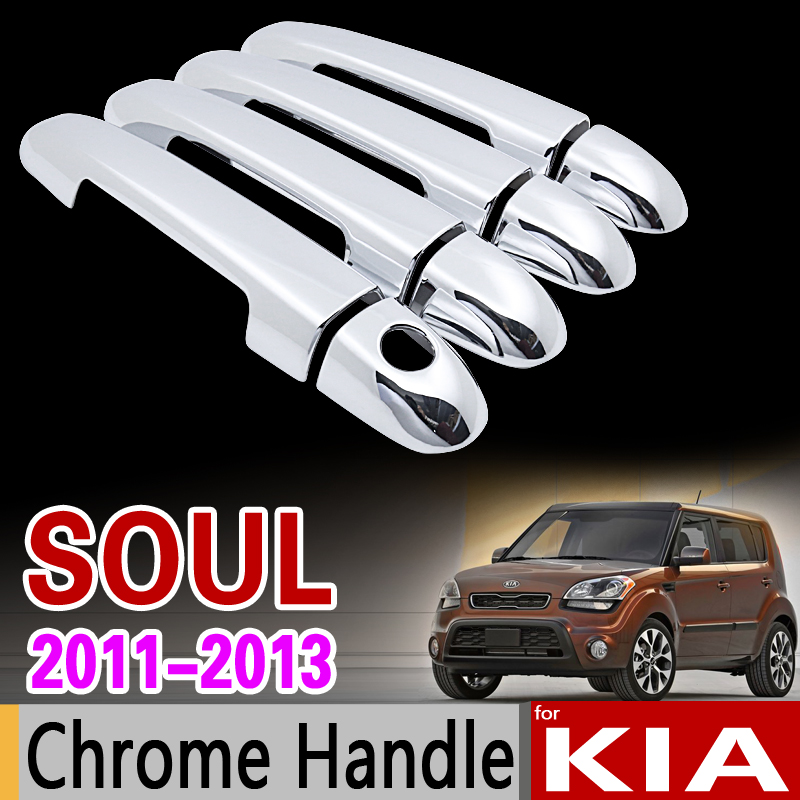 for KIA Soul 2011 2012 2013 Chrome Door Handle Cover Trim Set for Facelift Model Never Rust Car Accessories Stickers Car Styling hot sale abs chromed front behind fog lamp cover 2pcs set car accessories for volkswagen vw tiguan 2010 2011 2012 2013