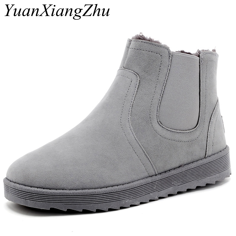 2018 Autumn Winter Snow Boots Men Shoes Slip-On Plus Fur Mens Boots Winter Footwear Warm Plush Work Shoes Man Casual Ankle Boots