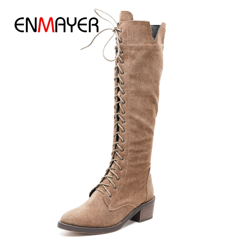 ENMAYER Boots women solid round toe lace up knee high boots women zipper boots square heel boots Size 34-39 ZYL954ENMAYER Boots women solid round toe lace up knee high boots women zipper boots square heel boots Size 34-39 ZYL954