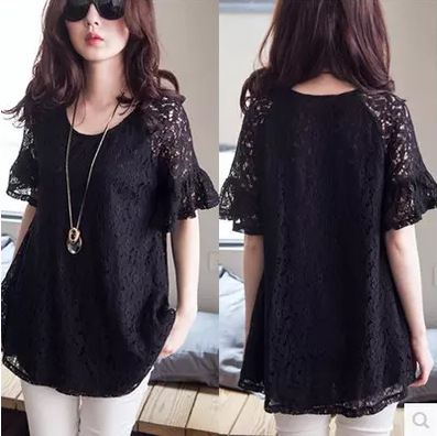 New Women Casual Basic Summer Lace Blouse Top Shirt short sleeves loose Solid blusas Black Hollow out Plus Size 1
