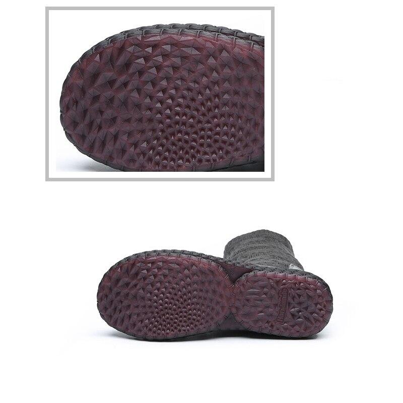 Noir Hiver À Genuien Cuir Des 2018 De Femmes Chaussures Vintage Rétro Bottes Cheville Chaudes Plate Main Neige forme Knitting gris Beyarne En La vc0a1qg