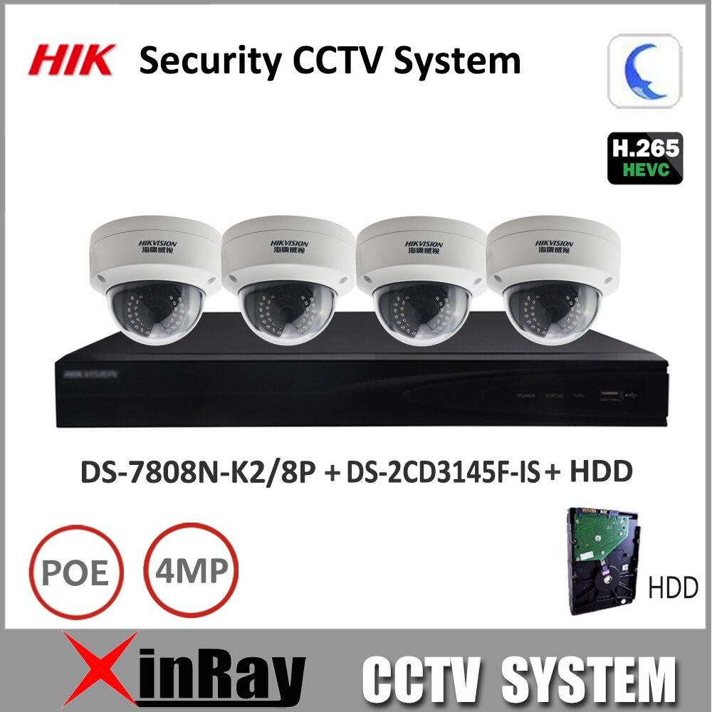 imágenes para Hikvision NVR 8POE DS-7808N-K2/8 P y $ NUMBER MP Cámara Domo DS-2CD3145F-IS H.265 Soporte Del Sistema de Cámaras de Seguridad P2P Visualización Remota Kit