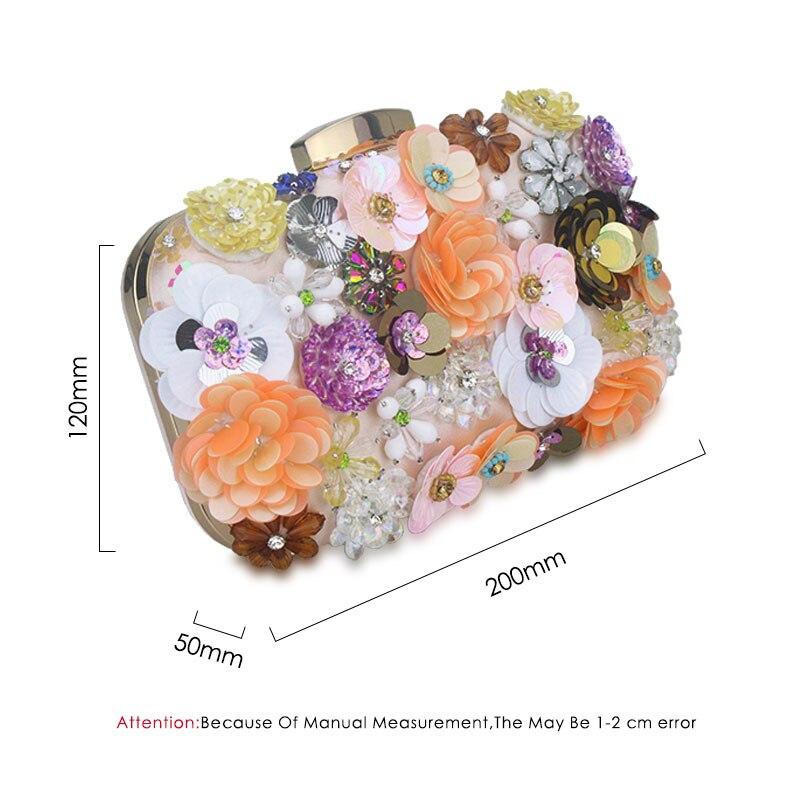 Cvijeće Bijela boja Ručno izrađena tkanina za žene Večernja - Torbe - Foto 6