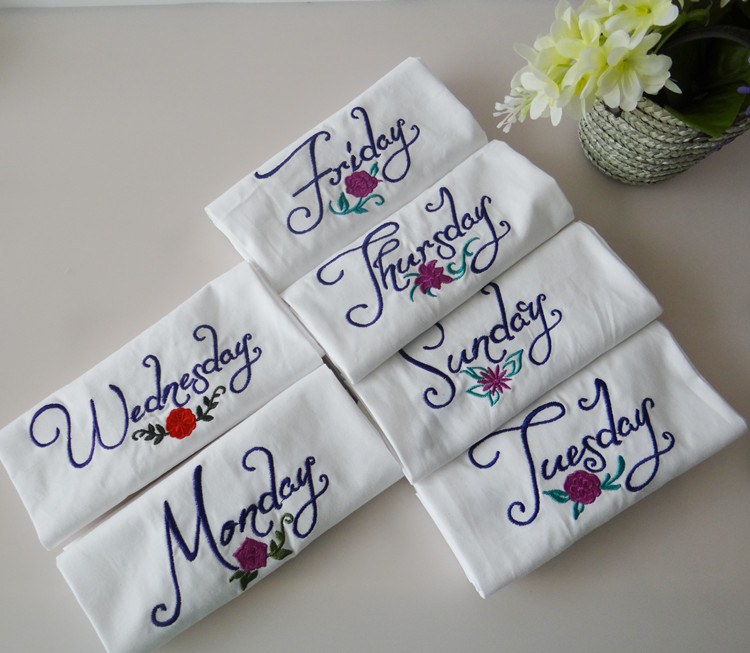 US $14 72 38% OFF|7pcs/set Creative Monday To Sunday One Week Series Towels  Cotton Napkins Embroidered Flower Table Napkin Dinner Table Mat-in Table