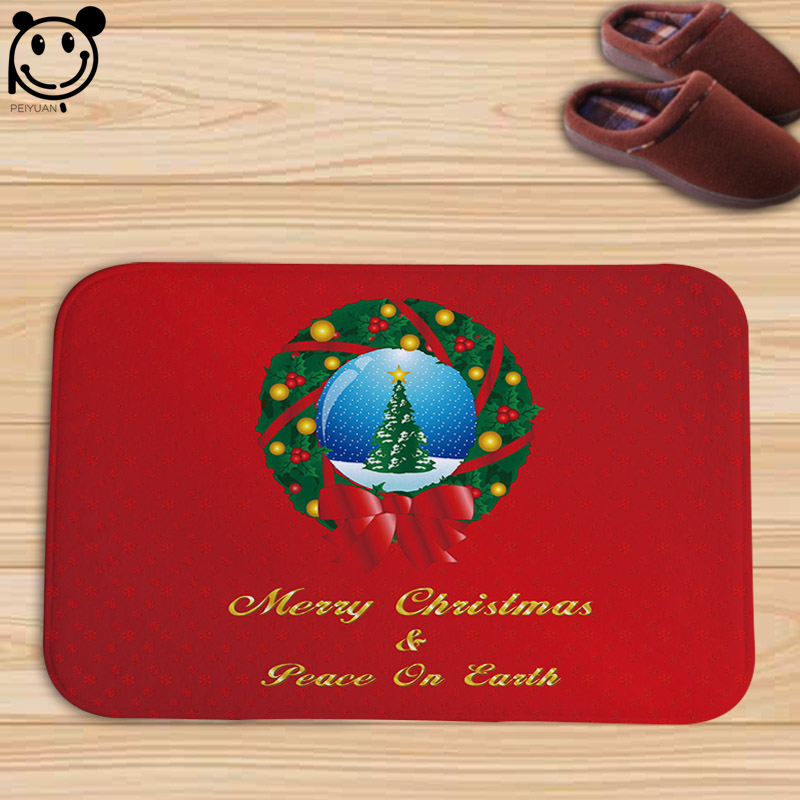 PEIYUAN Lovely Christmas Trees Candles Wreaths Deer Gifts Santa Claus Flannel Doormat New Design Floor Mat Carpet Red Tapete
