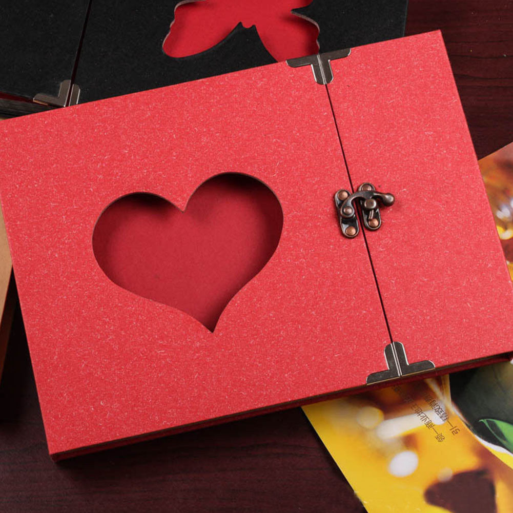 10 Inch Love Heart Hollow Out Design DIY <font><b>Scrapbook</b></font> <font><b>Album</b></font> 30 Black Pages Gift Box FPing image