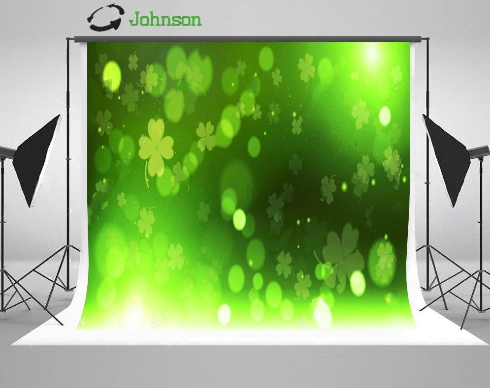 Зеленый Клевер боке Счастливый День Святого Патрика фон полиэстера или винилового ткань  ...