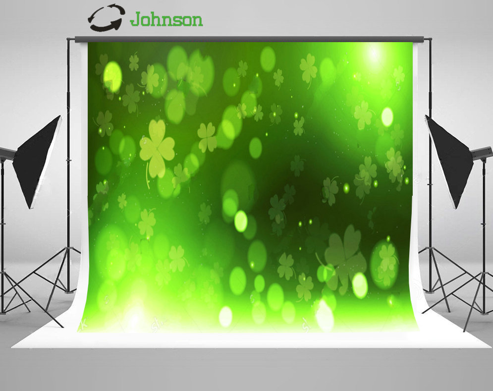 Green Clover Bokeh Happy Saint Patrick Day background polyester or Vinyl cloth High quality Computer print wall backdrop
